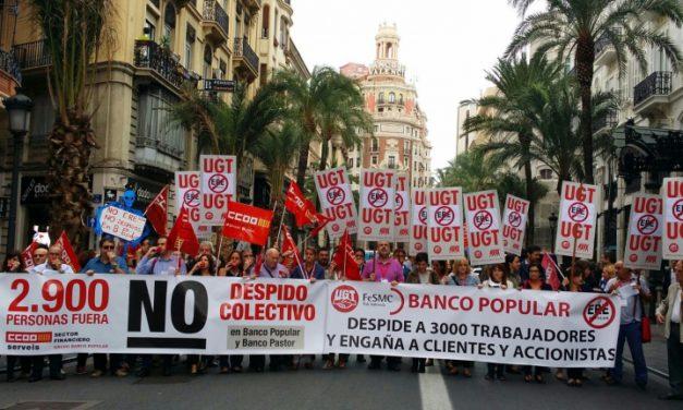 Nuevas movilizaciones de los trabajadores del Banco Popular en Valencia