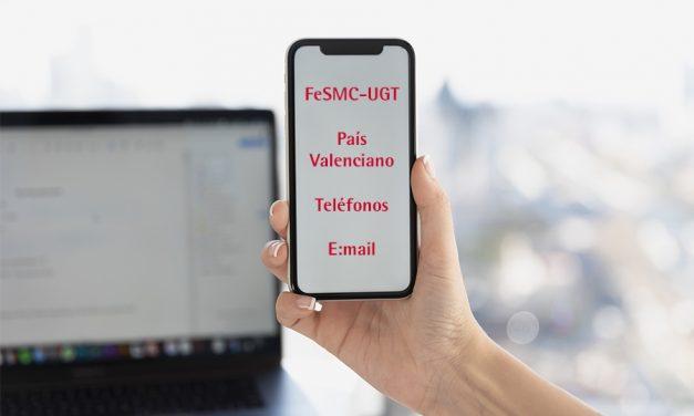 Listado de teléfonos y correos electrónicos de FeSMC-UGT País Valenciano para evitar la máxima movilidad